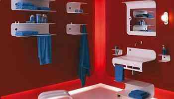 muebles de bano en rojo
