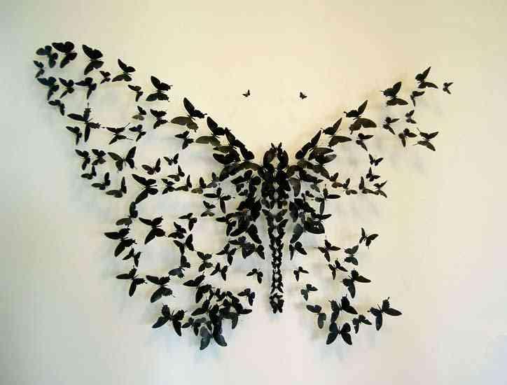 mariposas negras para decorar paredes