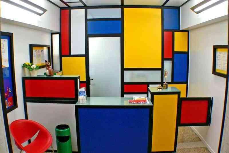 decoracion estilo Piet Mondrian