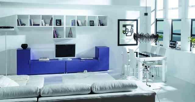 mueble modular en azul y blanco