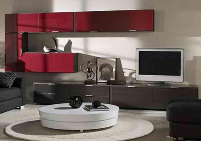 mueble modular en rojo
