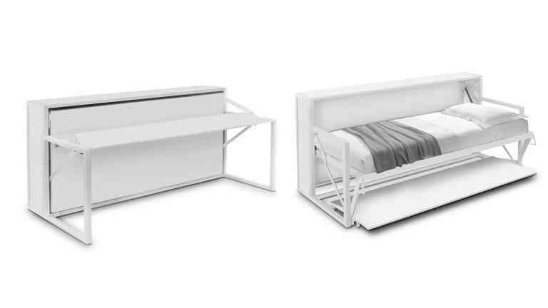 camas abatibles con escritorio blanco