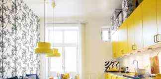 Cocina amarilla con estilo y mucha luz
