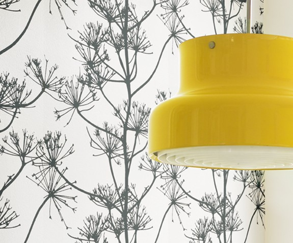 Detail of yellow kitchen lamp