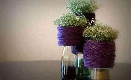 Manualidades – Un jarrón con hilos y flores