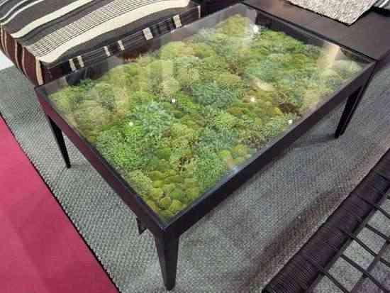Una mesa de musgo muy natural