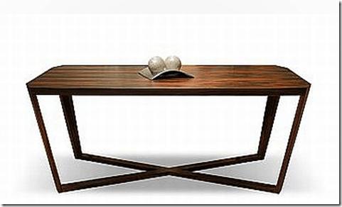 Mesa con patas cruzadas