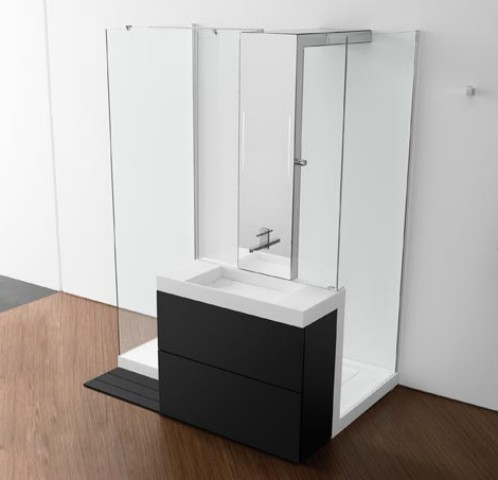 Showerbasin de roca lavabo y ducha integrados for Muebles para dentro ducha