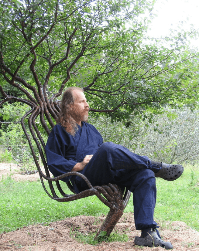 sillón natural con un arbusto