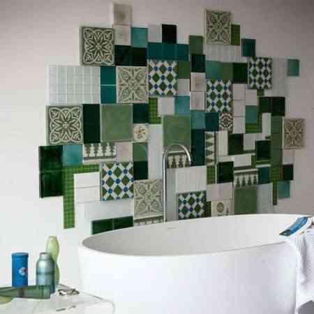 Mosaico en Baños verde