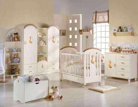 habitación infantil en tonos madera y blanco