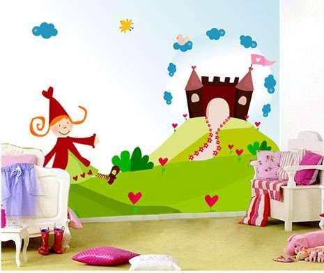 papel pared princesas y castillo