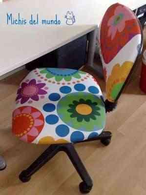 Sillas recuperadas decorar tu casa es - Como forrar una silla de escritorio ...
