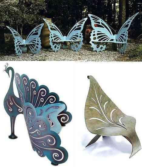 bancos con forma de mariposa