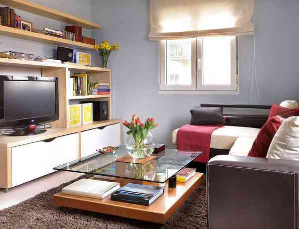 Salón bien organizado en pisos pequeños