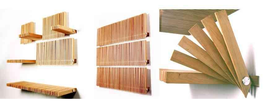 Estantería de madera de se despliega según necesidades