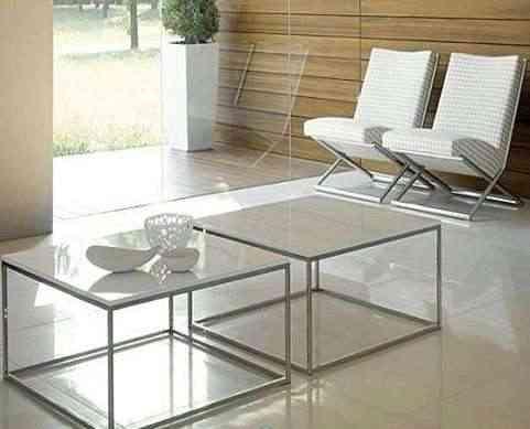 mesa centro cristal cromado