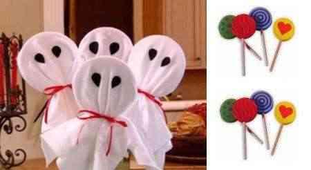 Decoracin infantil para Halloween piruletas fantasmales