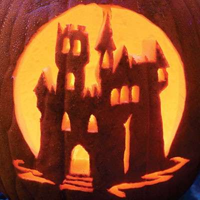 decorated pumpkins - halloween pumpkin castle