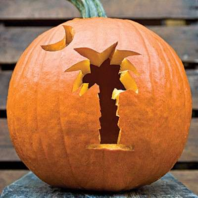 decorated pumpkins - halloween pumpkin palm tree