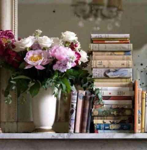 Decoración vintage con libros