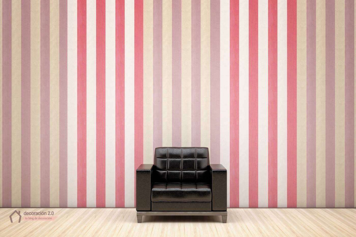Stripes on the wall and black armchair
