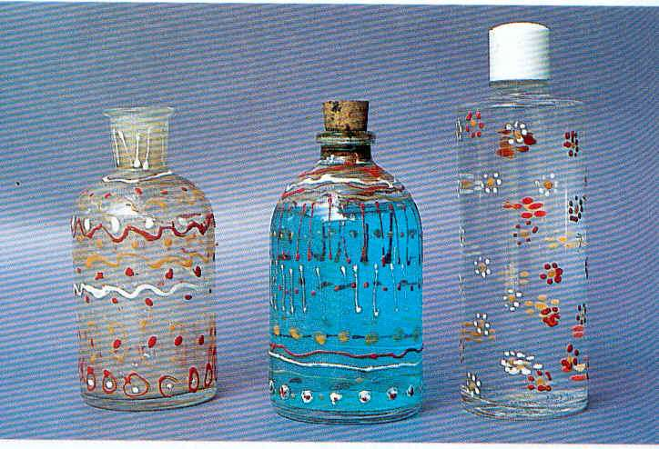 botellas de cristal decoradas a mano