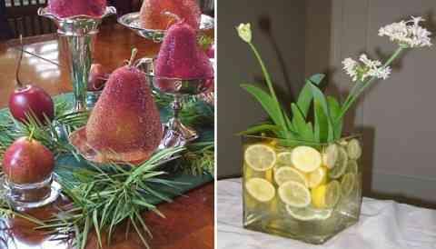 Centros decorativos con flores y fruta