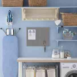 cuarto de lavado azul