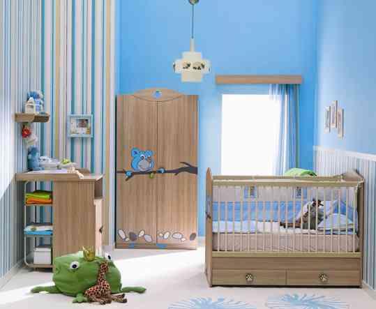 habitacion-bebe-azul-rayas, Decoración 2.0