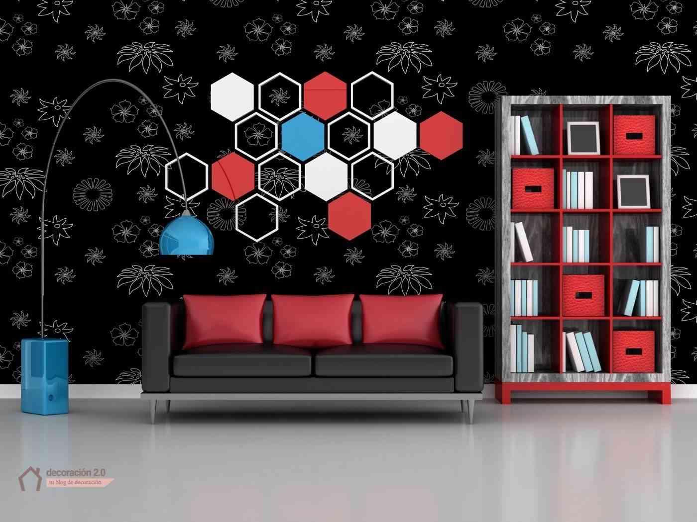 rompe moldes decoración con salón negro y rojo