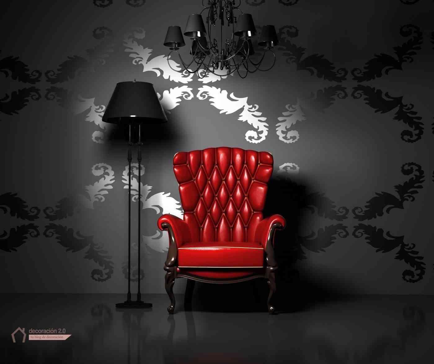 rompe moldes decoración sillón rojo y pared negra