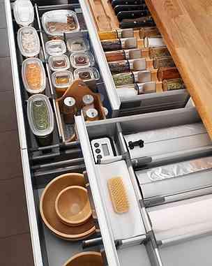 organizacion, gaveta, cocina