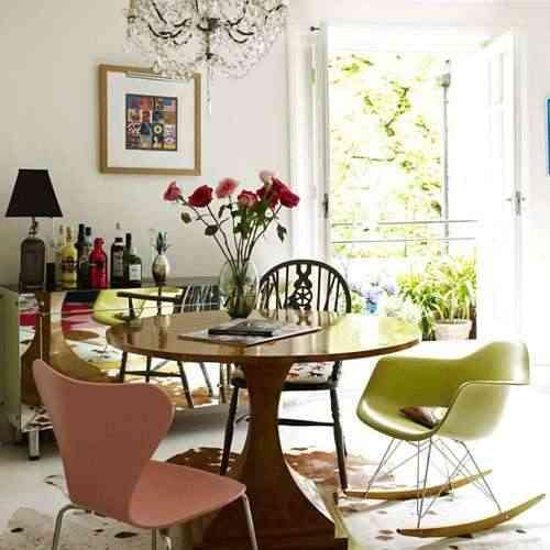 decoracion eclectica mezcla de vintage, retro, chandelier y diseño