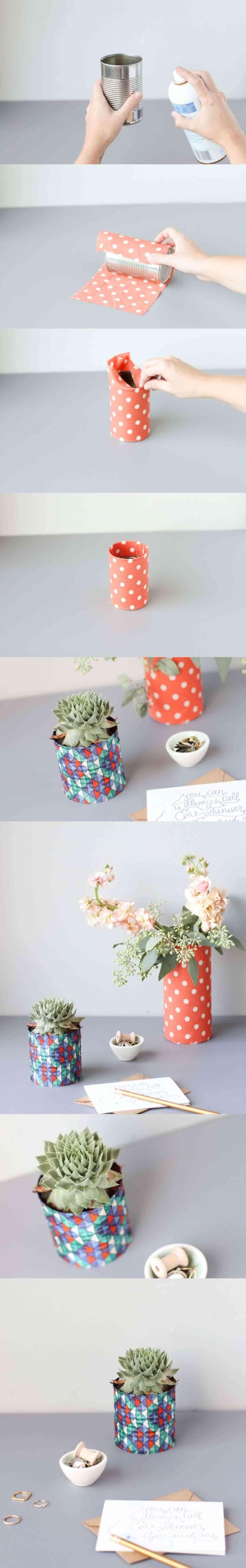 decora latas con papel