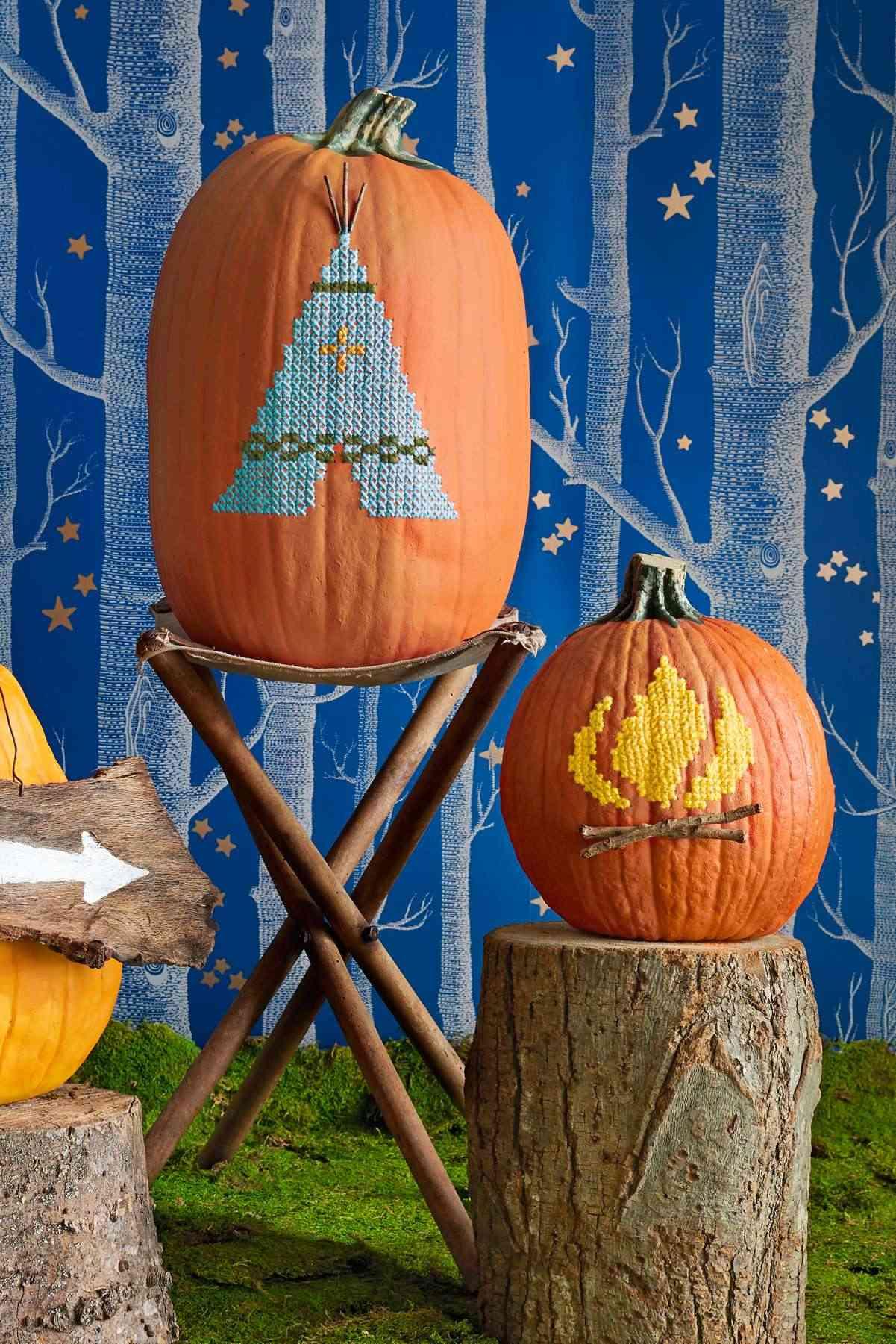 Calabazas en tu decoracion de Halloween - punto de cruz
