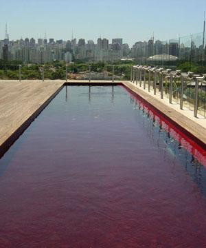 Piscina de color roja
