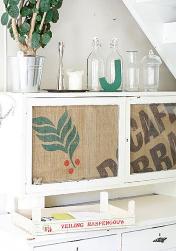 furniture with burlap