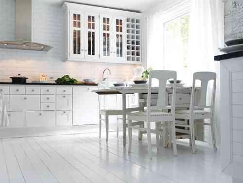 Suelos puros blanco en la cocina - Suelos para cocinas blancas ...