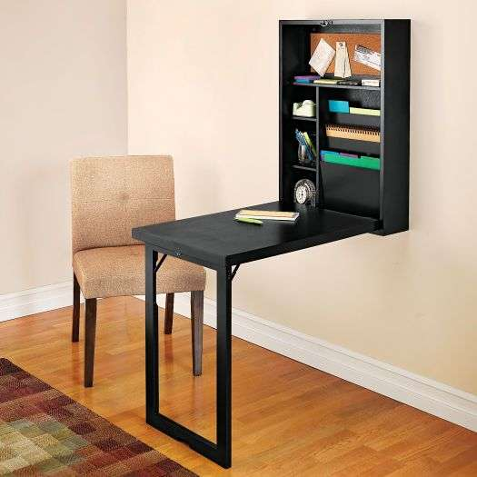 Shelving and folding desk in one