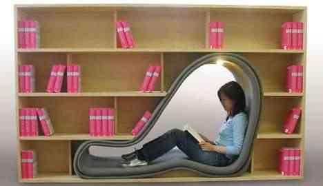 Estantería con diván integrado para leer
