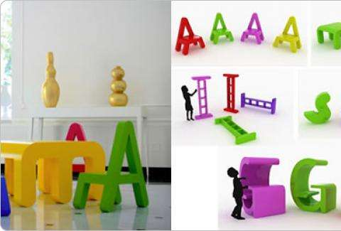 Collection of furniture with letters for children's rooms