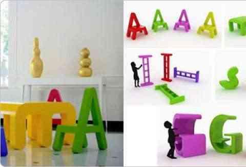 Colección de muebles con letras para habitaciones de niños