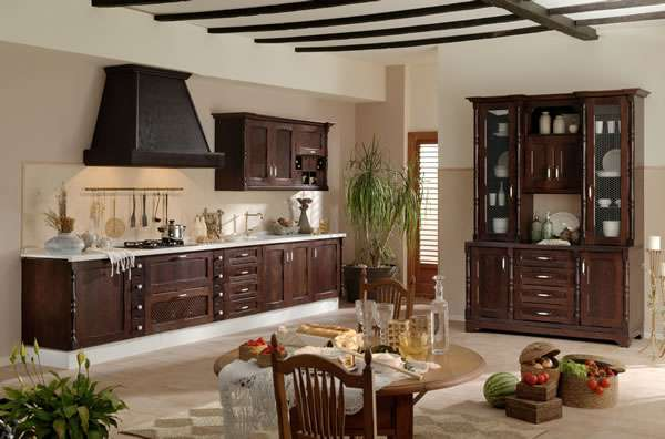 Decoraci n de cocinas con muebles r sticos for Muebles de madera rusticos para cocina