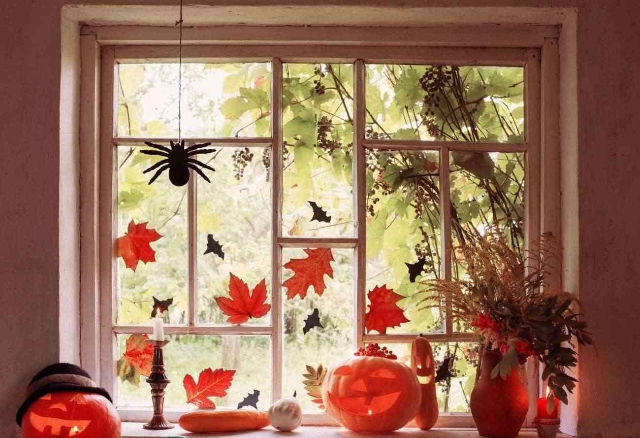 Ideas económicas para decorar tu hogar en Halloween - calabazas y hojas