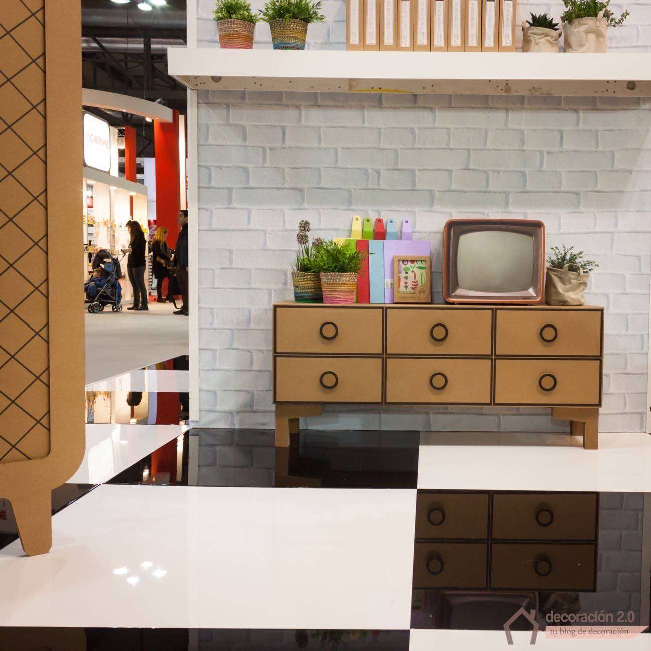 Cardboard home furnishings on display at HOMI, home international show in Milan, Italy