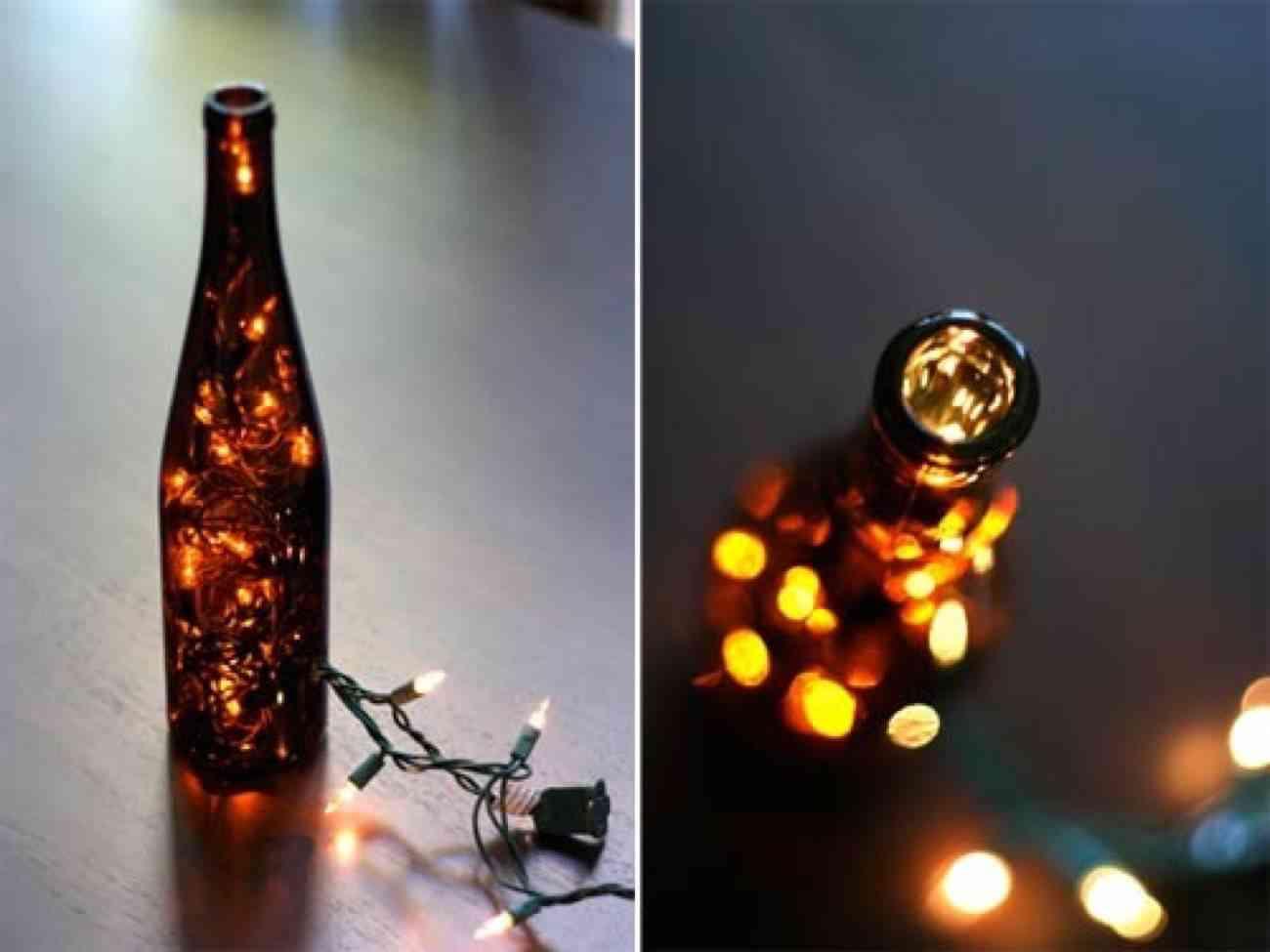 botella navideña luminosa