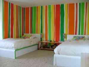 Decoraci n geom trica - Habitaciones infantiles pintadas a rayas ...