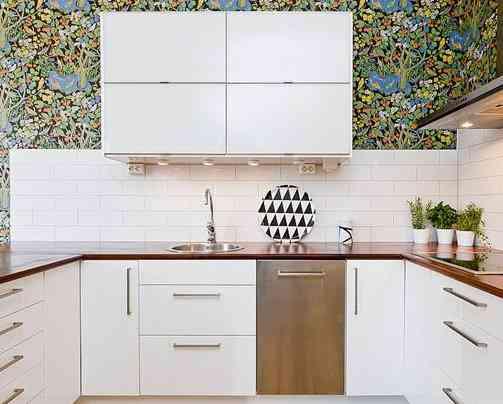 Una pared con flores - Papel cocina pared ...