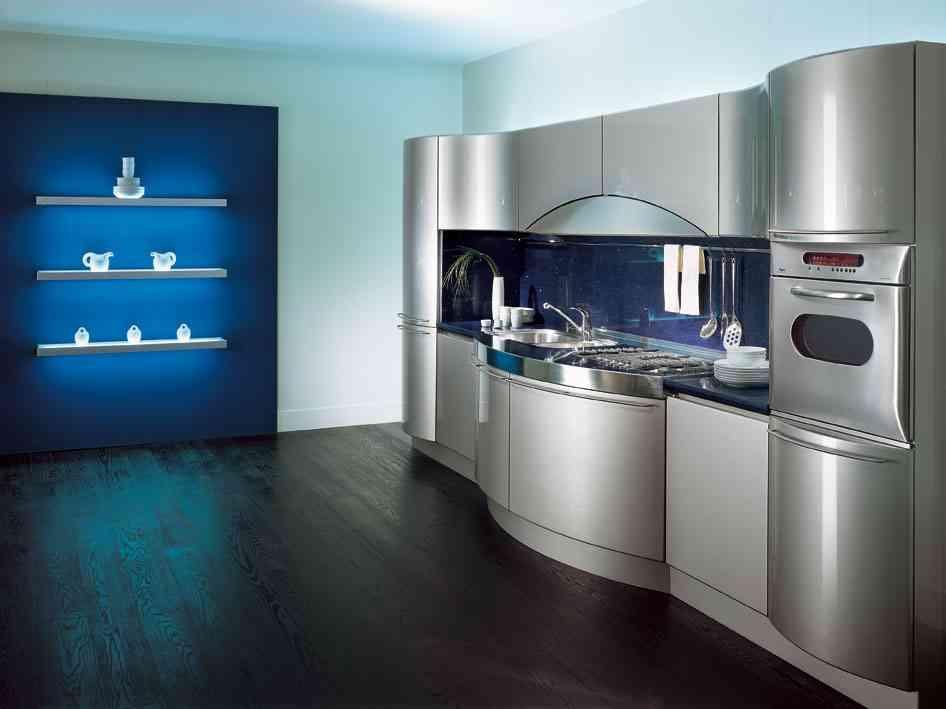 cocina sencilla en azul